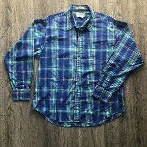 Vintage Southern Classics Purple Green Plaid Shirt
